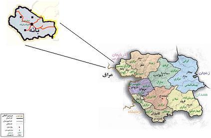 نقشه شهرستان بانه